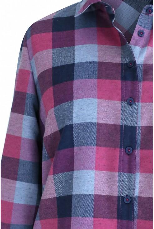 Długa koszula-tunika w różowo-szarą kratę - SYLVIA