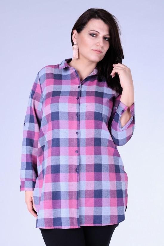 4fa41ee7c Długa koszula-tunika w różowo-szarą kratę - SYLVIA - XL-ka
