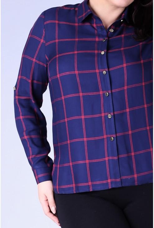 Granatowa koszula w czerwoną kratę PAMELA