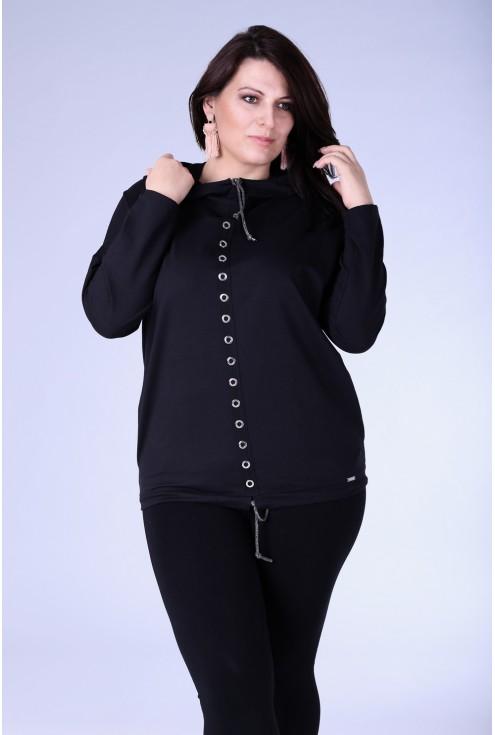 Czarna bluzka / bluza z kółkami MARTHA