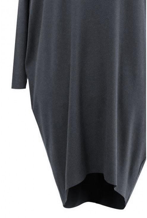 Grafitowa sukienka oversize z długim rękawem - SUSAN 2
