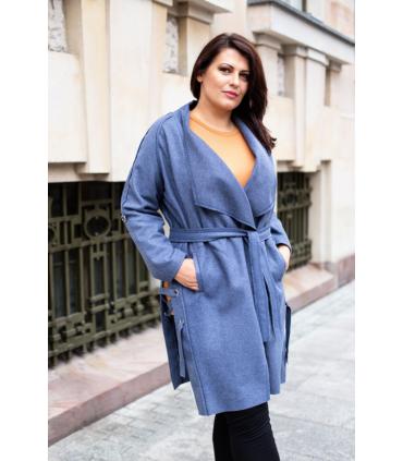 Długi płaszcz / narzutka OLGA - kolor jeansowy