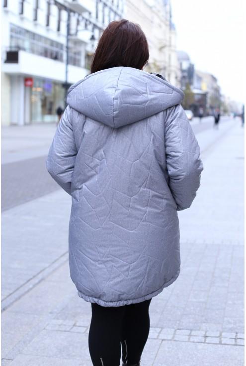 Szara ciepła kurtka z przeszyciami VIOLA