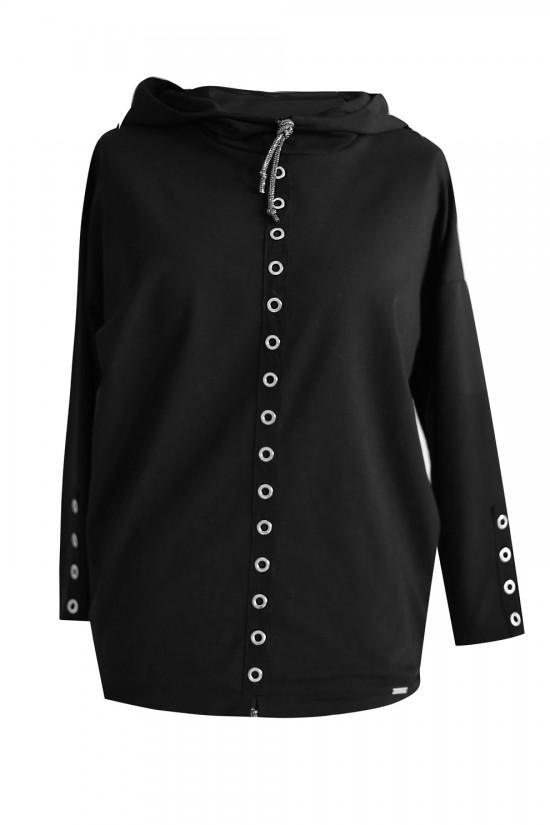 czarna bluza ze srebrnymi kółkami