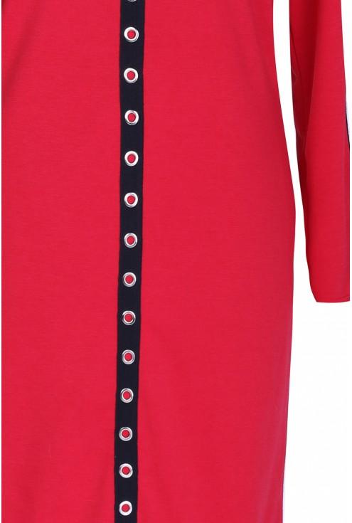 Czerwona sukienka z kółkami ELISA