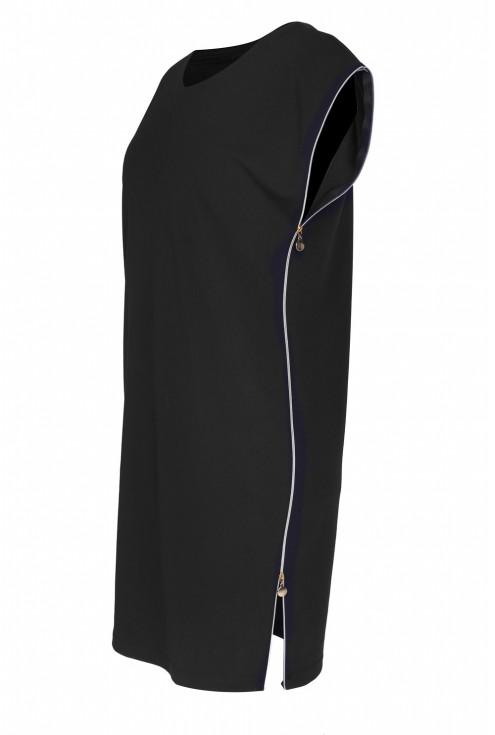 Czarna sukienka z suwakami EDITH