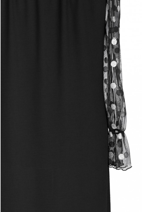 Czarna sukienka w srebrne grochy - MIRELLE