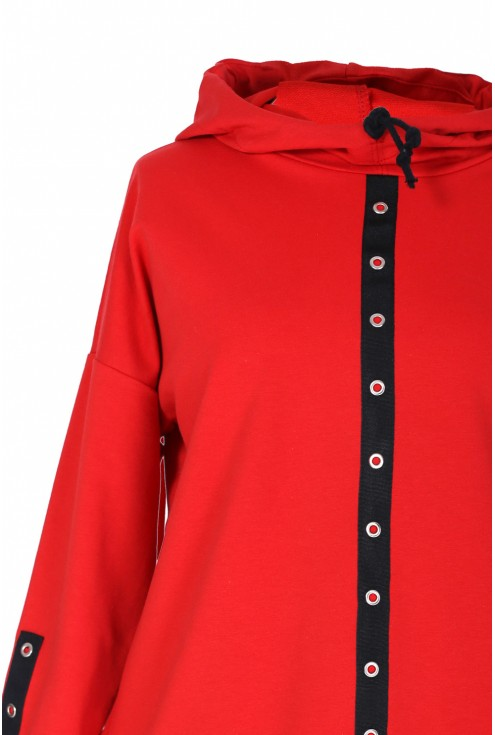 Czerwona bluzka / bluza z kółkami MARTHA
