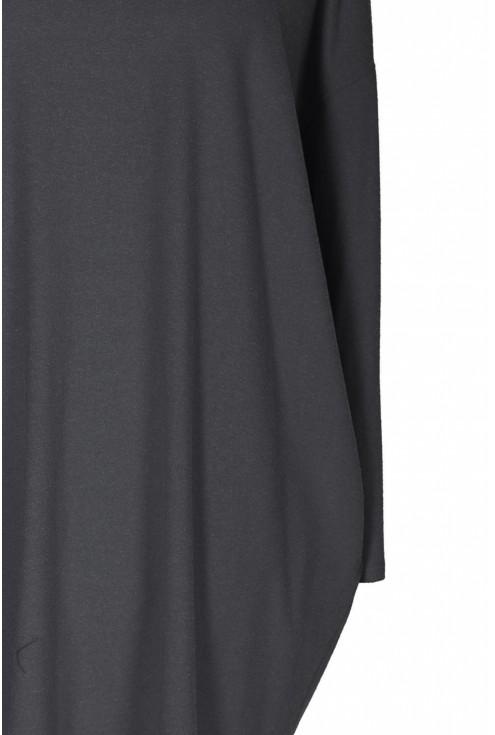 Grafitowa sukienka oversize z długim rękawem - YVETTE