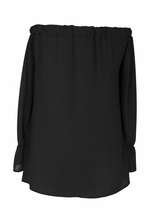 Czarna bluzka hiszpanka z długim rękawem MARCELA