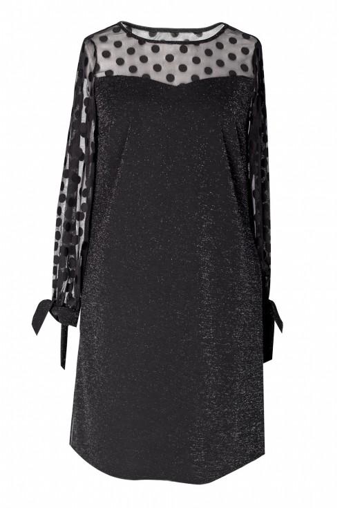 Czarna sukienka w kształcie litery A - Adessina
