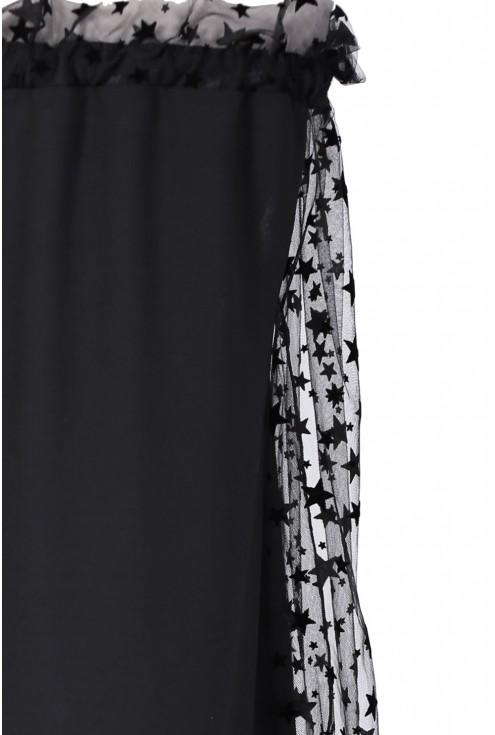 Czarna sukienka z rękawami w gwiazdki - MIRELLE