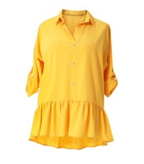 Żółta bluzka / koszula z falbanką SABRINA