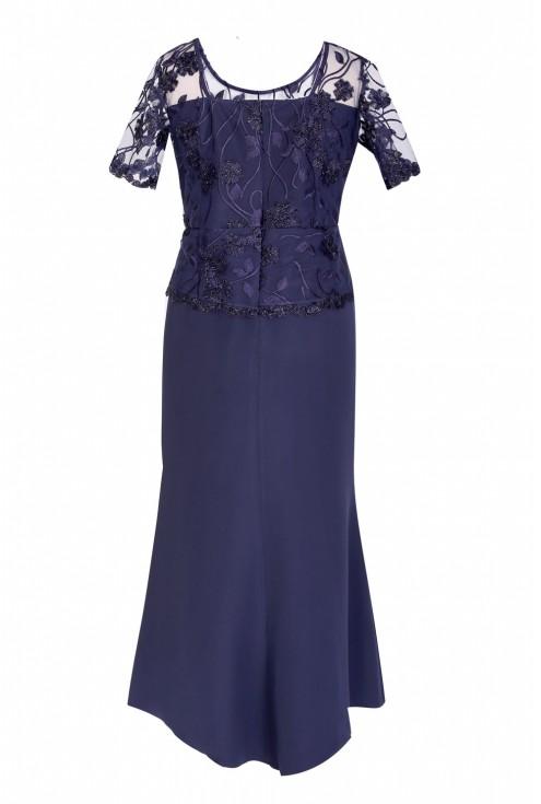Granatowa sukienka z koronką FIORELLA