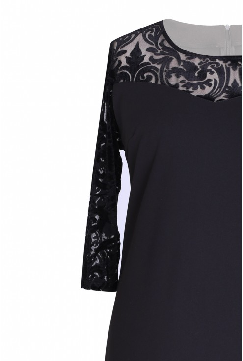 Czarna koktajlowa sukienka z tiulem - ARIADNA