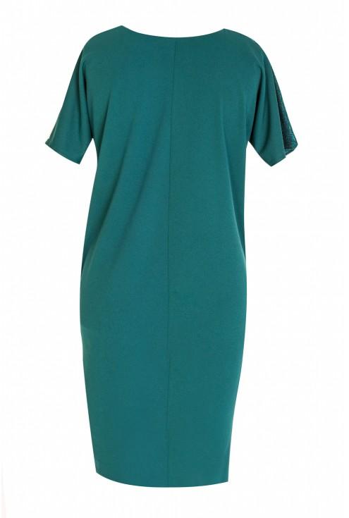 Wieczorowa błyszcząca sukienka - MIREIA - butelkowa zieleń