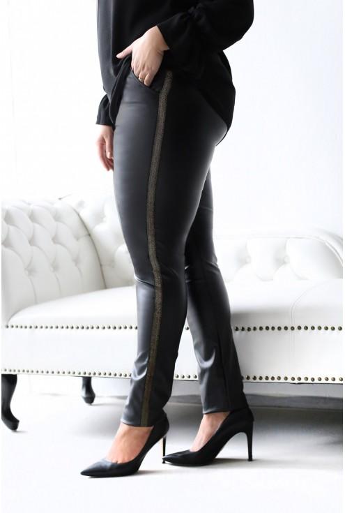 Czarne spodnie MARTHA ZŁOTO-CZARNY LAMPAS