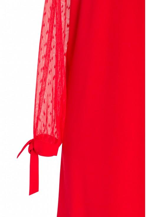 Czerwona sukienka w kształcie litery A - Adessina