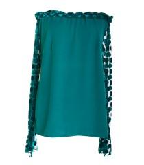 Turkusowa bluzka w koronką w grochy TINA