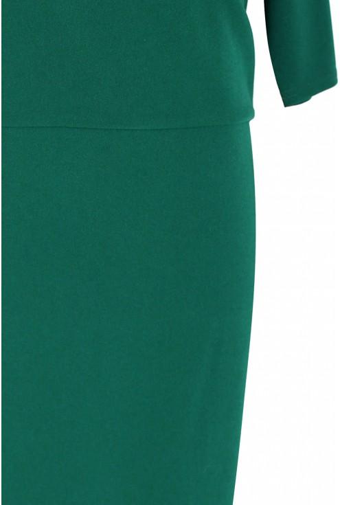 Sukienka z kopertowym dekoltem GABRIELA - butelkowa zieleń