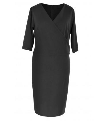 Czarna sukienka z kopertowym dekoltem GABRIELA