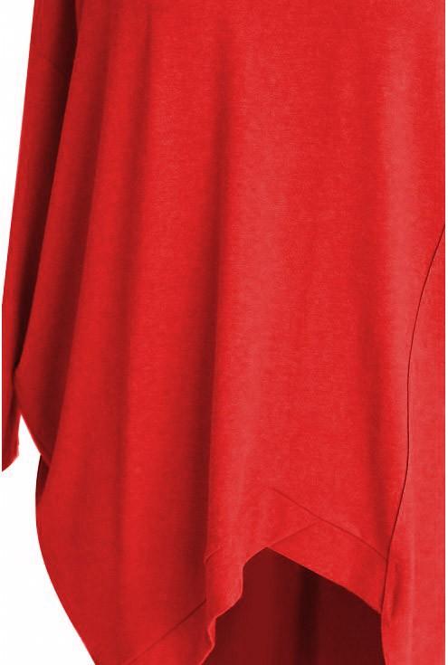 Czerwona tunika asymetryczna LORI 2 (cieplejszy materiał)