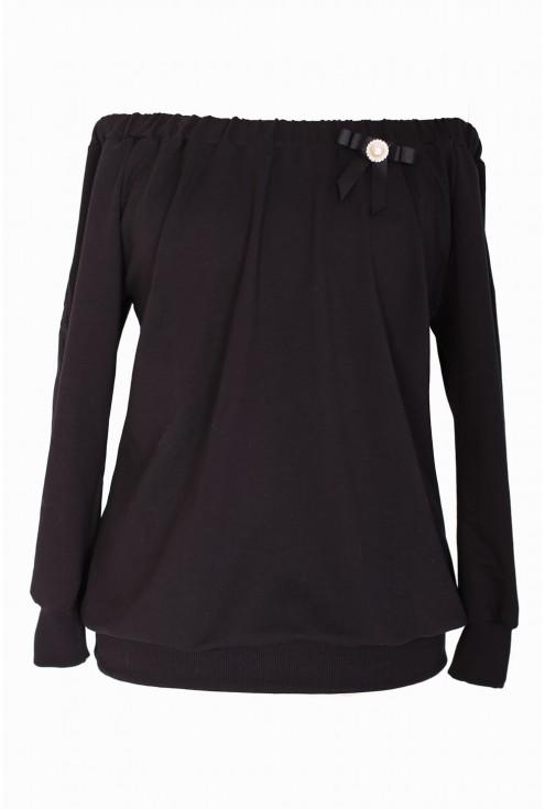 Czarna bluzka hiszpanka z perełką VALENCIA