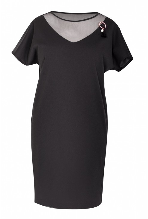 Czarna sukienka z siateczką MARLENA
