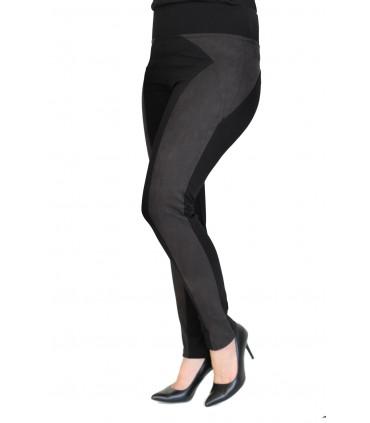 Uniwersalne czarne legginsy plus size z pasem z zamszu PATTY