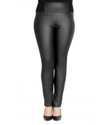 POLSKIE czarne legginsy z eko skórą AURELIA
