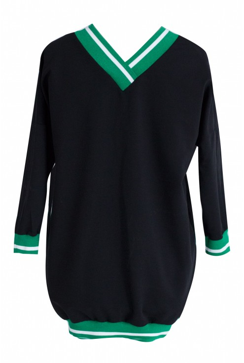 Czarna dresowa bluza ze ściągaczem ZIELEŃ - INA