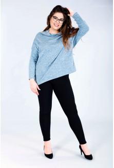 Luźny szaroniebieski sweterek z serduszkiem – CLARISSA