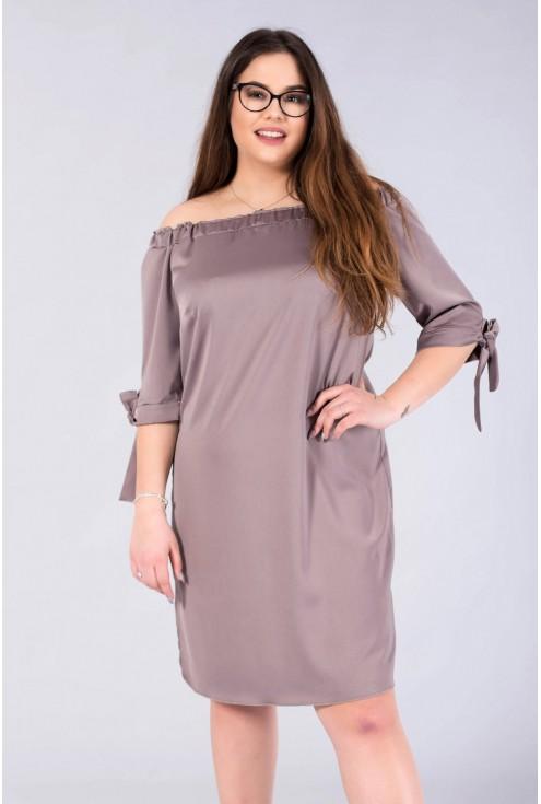 Sukienka hiszpanka z satyny - MARITA kolor szary