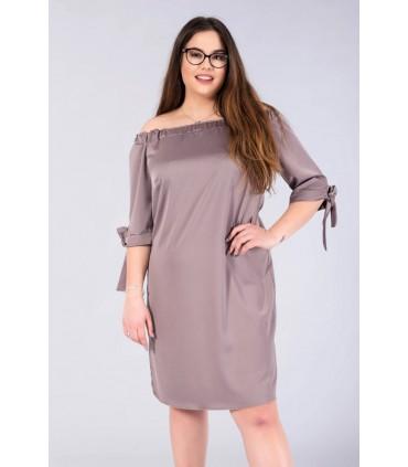 Sukienka hiszpanka z satyny - MARITA kolor szarobeżowy