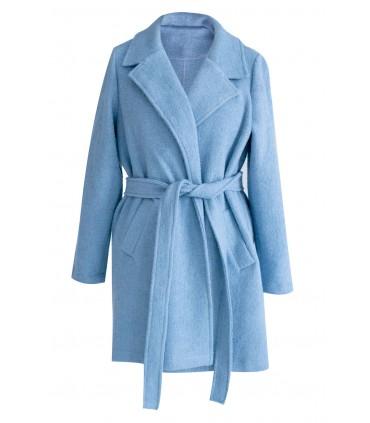 Jasnoniebieski płaszcz wiązany ARLES