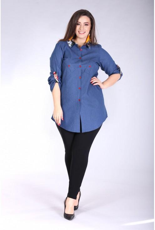 Koszula z podwijanymi rękawami SINDI KWIATKI - jeansowy