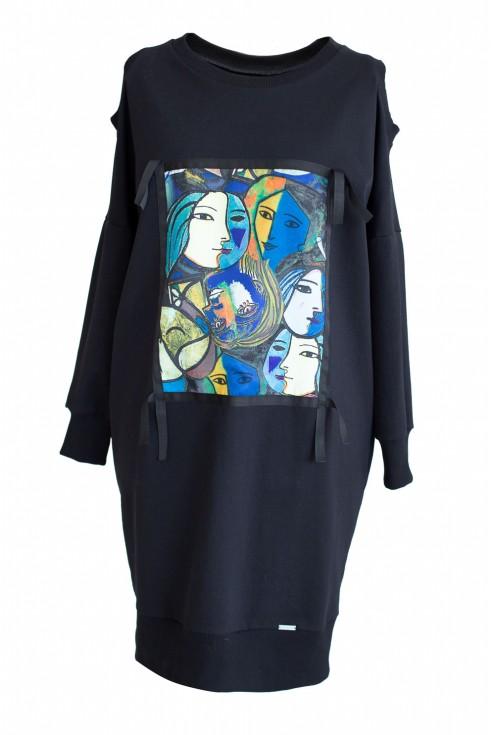 Dresowa sukienka z grafiką KEYS