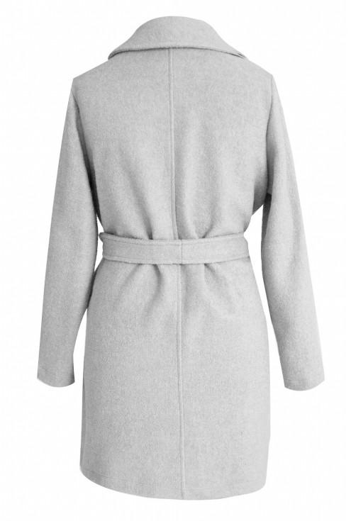 Jasnoszary płaszcz wiązany ARLES