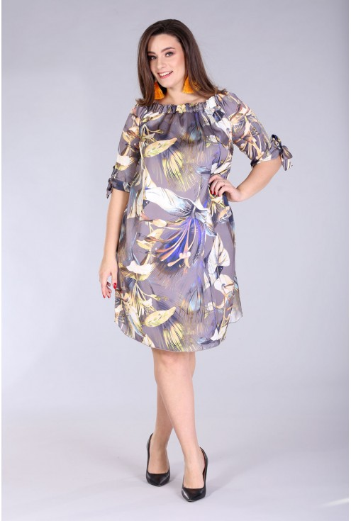 Sukienka hiszpanka w kwiaty - MARITA kolor brązowy