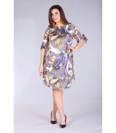 Sukienka hiszpanka w kwiaty - MARITA ciepłe kolory
