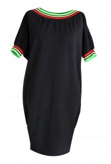 Czarna sukienka z kolorowym ściągaczem WHITNEY