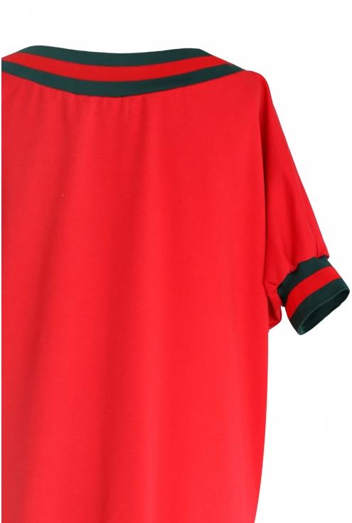 Sukienka z zielonym ściągaczem WHITNEY - kolor czerwony