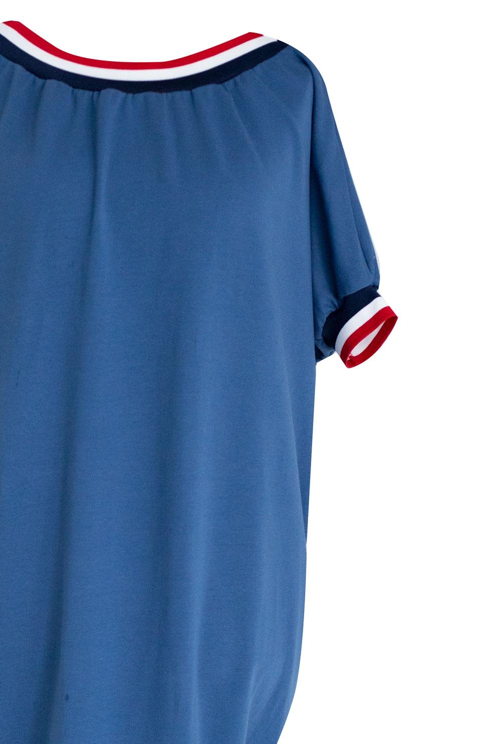 fb95ecca Sukienka ze ściągaczem WHITNEY - kolor jeansowy. Malinowa sukienka z  wiązaniem - VENEZIA