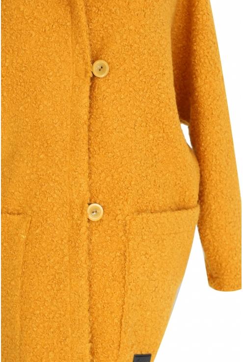 Miodowy płaszcz oversize z kapturem TIFFANY