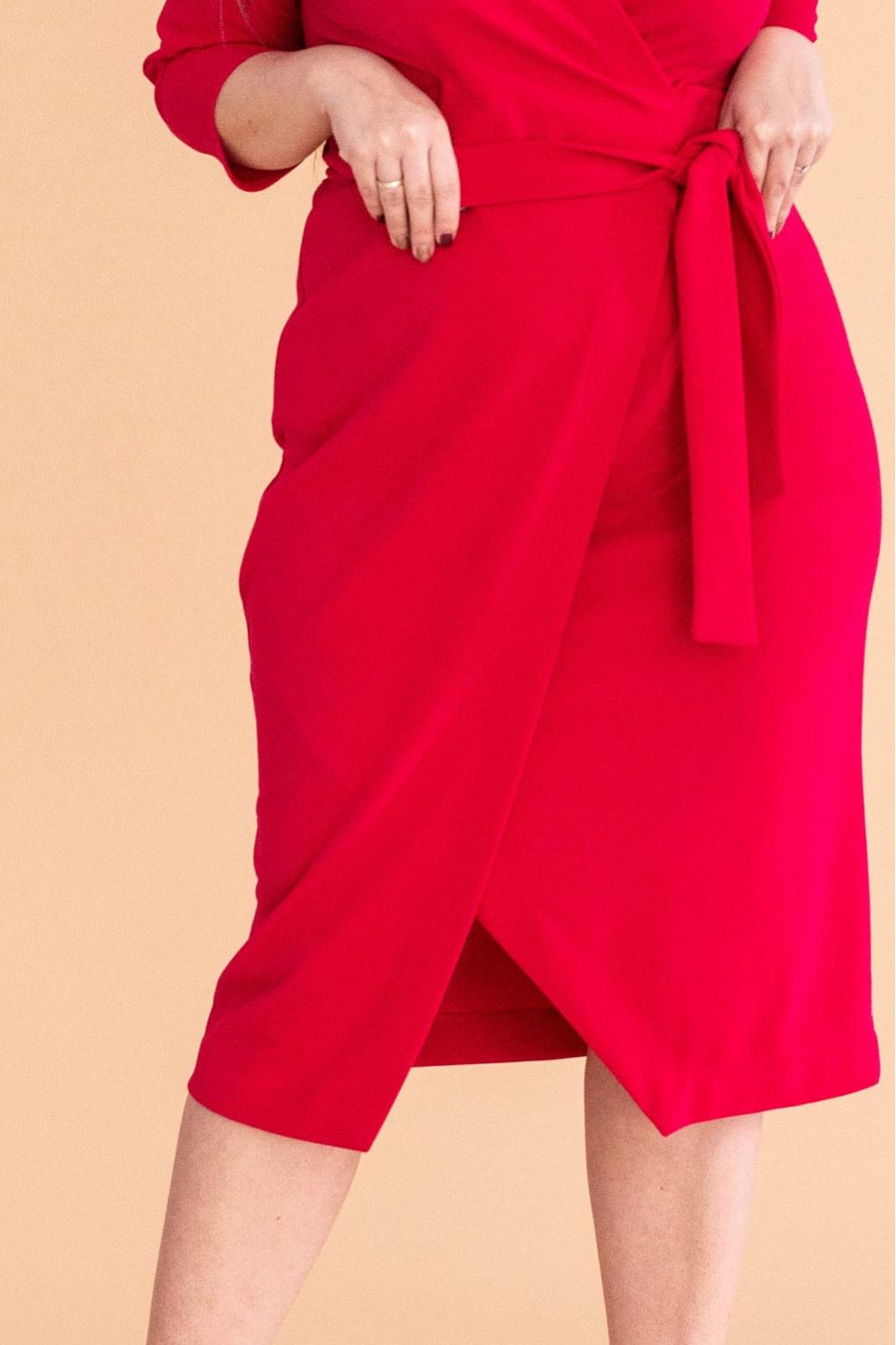 679da694 Malinowa sukienka z wiązaniem - VENEZIA - Sklep PLUS SIZE XL-ka