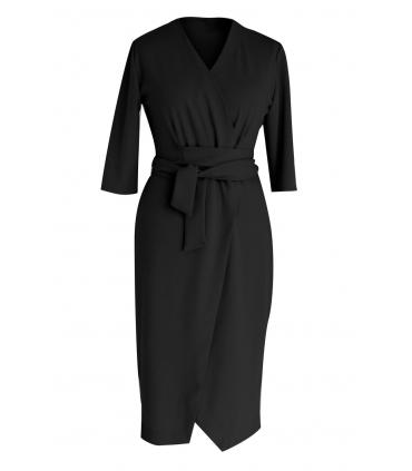 Czarna sukienka z wiązaniem - VENEZIA