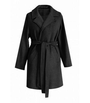 Czarny płaszcz wiązany ARLES