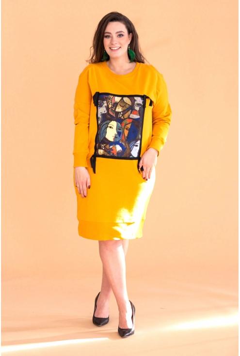 Miodowa dresowa sukienka z grafiką KEYS