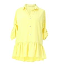 Cytrynowa bluzka / koszula z falbanką SABRINA
