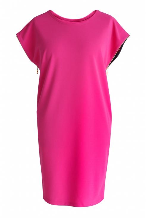 Amarantowa sukienka z suwakami EDITH